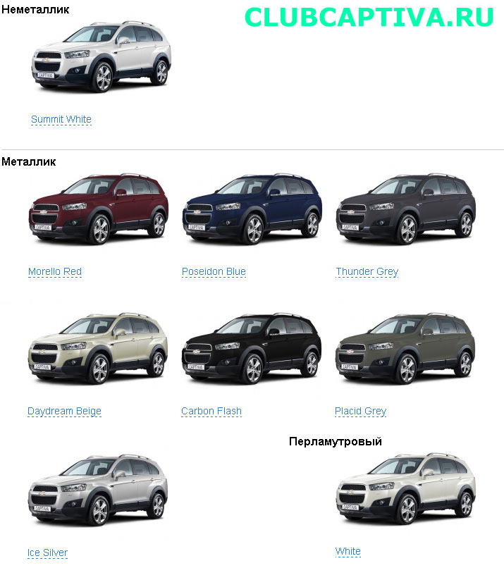 Chevrolet Captiva New Цвета Кузова